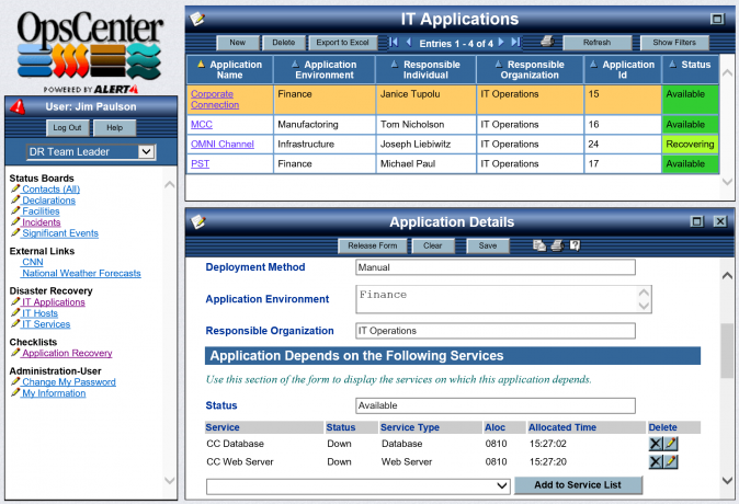 Example Screen from OpsCenter Business Continuity Configuration