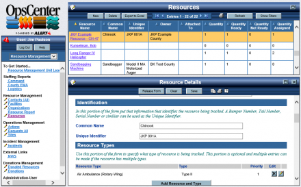 OpsCenter Resource Status Board and Form
